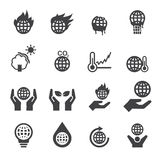 Global warming icons Royalty Free Stock Photography