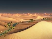 Global warming idea. solitary sand ridges under impressive evening sunset sky at drought desert scenery 3d rendering Stock Photos