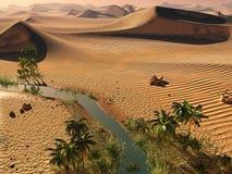 Global warming idea. solitary sand ridges under spectacular evening sundown sky at drought desert landscape 3d rendering Royalty Free Stock Images