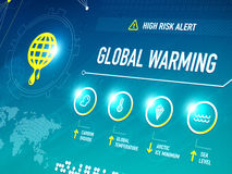 Global Warming. Infographic shows key metrics that are effecting global climate change and becoming a high risk alert for the life on the Earth Stock Photography