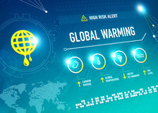 Global Warming. Infographic shows key metrics that are effecting global climate change and becoming a high risk alert for the life on the Earth Royalty Free Stock Photos