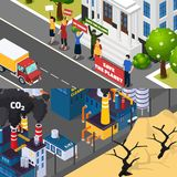 Global Warming Isometric Banners Royalty Free Stock Photos