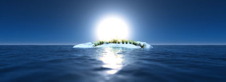 Global warming landscape. Arctic scenery with one ice rock and growing grass. Blue sky. Climate change. Stock Photography