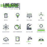 Global warming line icons Stock Photos