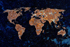Global warming, map of the earth being distroyed Royalty Free Stock Image