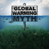 Global Warming Myth. And climate change or extreme weather conditions concept and rising sea levels due to hot weather and melting of the polar ice caps as a Stock Photo