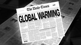 Global Warming - Newspaper Headline (Intro + Loops) stock video footage