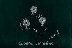 Global warming, oceania and funny electric fans Stock Photo