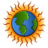 Global Warming Planet Earth. A clip art illustration of the earth with a hot glowing ring and heat rays representing global warming Royalty Free Stock Photography