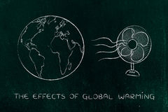 Global warming, planet earth and funny electric fan Stock Images