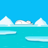 Global Warming and Polar Bear on Glacier Royalty Free Stock Images
