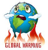 Global warming poster with earth on fire Royalty Free Stock Photo