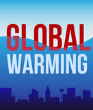Global warming  poster. A poster with the words 'global warming'. Flooded city, flood, cataclysm Royalty Free Stock Photos