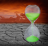 Global warming is a real threat for our civilization. Conceptual composite image symbolizing a short time lapse needed for a drastic change in climate of our royalty free stock photo
