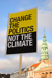 Global warming's banner. In Copenhagen Royalty Free Stock Photo