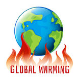 Global warming sign with earth on fire Royalty Free Stock Photography