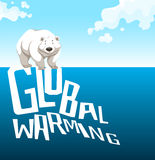 Global warming sign with polar bear Stock Photos