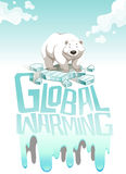 Global warming sign with polar bear Royalty Free Stock Photos