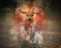 Global Warming Skeleton Walking on Burning City. A wild skeleton bull with fire and smoke burning around it is walking on top of a polluted city horizon for a Royalty Free Stock Photo