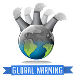 Global warming theme with earth and factory Royalty Free Stock Images