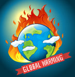 Global warming theme with earth on fire Stock Images
