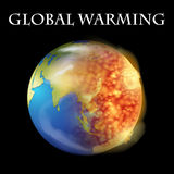 Global warming theme with earth on fire Royalty Free Stock Image