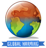 Global warming theme with earth getting hot Stock Image