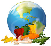 Global warming theme with earth and rotten food. Illustration Stock Photos