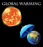 Global warming theme with earth and umbrella Royalty Free Stock Photo