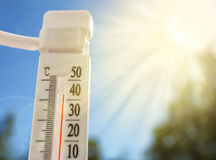 Global warming, a thermometer on a hot day Royalty Free Stock Photo