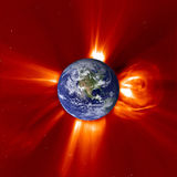 Global Warming - Western Earth & Solar Flare Stock Photo