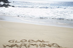 Global Warming Written In The Sand Royalty Free Stock Images