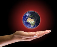 Global warming in your hand royalty free stock photos