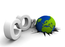 Global warning. CO2 pollution in 3D's  style. Globe in tilt for excessive pollutions Stock Image