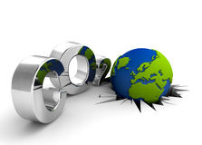 Global warning. CO2 pollution in 3D's style. Globe in tilt for excessive pollutions stock illustration