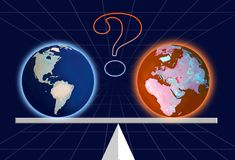 Global Weather. The controversy about Global weather goes on stock illustration