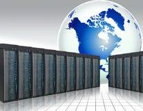 Global web hosting. Servers room . web hosting, peering Royalty Free Stock Photo