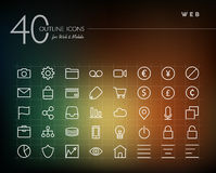 Global web outline icons set Royalty Free Stock Photo