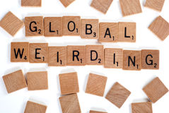 Global Weirding words with tiles Royalty Free Stock Images