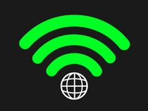 Global wi-fi. Wi-fi symbol with planet Earth - global connection to internet site and web. Digital and technologic innovation - general access to be online and Stock Image