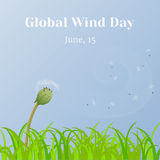 Global Wind Day background with grass and dandelion clock in cartoon style. Vector illustration for you design, card. Global Wind Day background with grass and Royalty Free Illustration