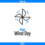 Global Wind Day 2017, June 15. Banner with pinwheel, symbol of wind industry. Vector sketchy clip art, isolated on white Royalty Free Stock Photography