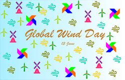 `Global Wind Day` Lettering with colorful Windmills,wind icons, pinwheels stock illustration