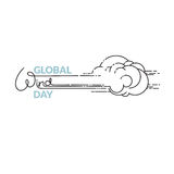 Global Wind Day vector illustration isolated on white. Background. Linear wind, cloud and handwritten word. 15 june world ecology holiday. Event label, greeting stock illustration