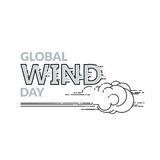 Global Wind Day vector illustration isolated on white. Global Wind day emblem isolated on white background. Linear wind, cloud and word. 15 june world ecology royalty free illustration