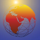 Global wireframe Eastern Earth globe bright sun Royalty Free Stock Photos