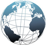 Global wireframe latitude Atlantic Earth globe. Global wireframe latitude longitude grid Atlantic Earth 3D globe vector illustration