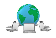 Global wireless network. One 3d render of laptops aorund the globe stock illustration