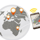 Global wireless phone connection. Illustration Royalty Free Stock Photography