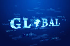 Global word with Earth. Word - Global with earth on deep blue background Stock Photos